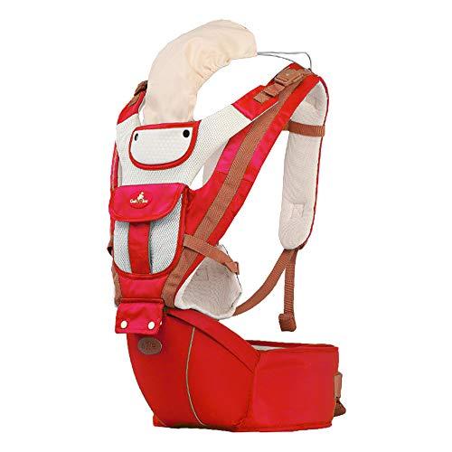 Tragetuch Multifunktionssitz Ergonomischer Babyrucksack 0-36 Monate Vier Jahreszeiten Artefakt mit Sonnenschutz Windundurchlässige Kappe,Red