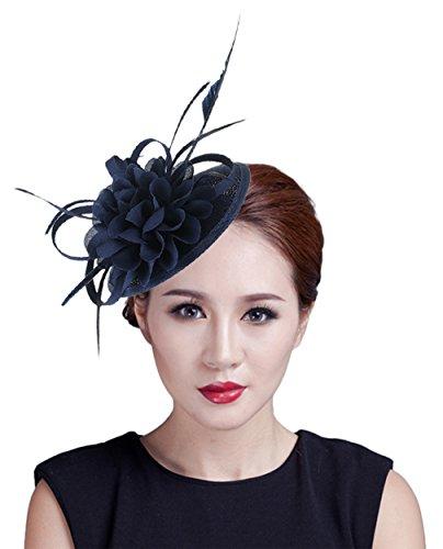 fascinator dunkelblau EOZY Damen Mini Hut Fascinator Hut Kopfschmuck Mini-Zylinder Dunkelblau