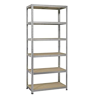 Avasco Claire Galva 175 Strong Adjustable Metal and Wood Heavy Duty Shelving Unit with 6 Shelves 200x100x40cm