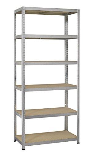 Avasco strong 175 - scaffale in metallo/legno, per carichi pesanti, fissabile tramite clip, 6 ripiani, dimensioni: 200 x 100 x 40 cm, galvanizzato