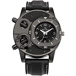 TrifyCore Reloj de Pulsera Manchado meridiano de la Moda Reloj Masculino de Cara Negra 1 Paquete (Cargado)