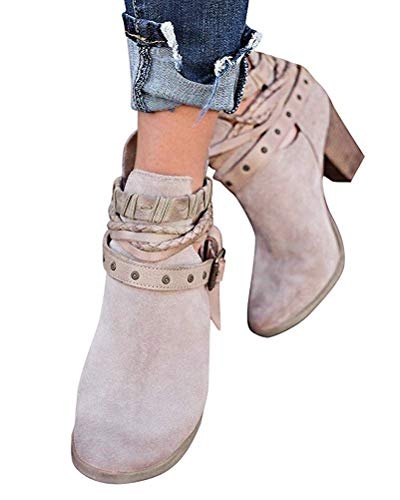 Minetom Damen Stiefelette Ankle Boots Herbst Winter Retro Sexy Mode Casual Elegant Dicke Absatz High Heels Frauen Stiefel Grau EU 41
