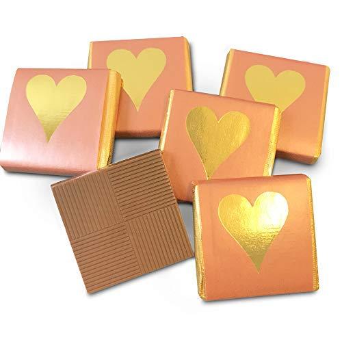 FLAIRELLE Schokotäfelchen Feine Schokolade in goldener Folie und kupferfarbenem Papier mit Herz in gold 200g – Hochzeit oder als Gastgeschenke, Give Aways, Valentinstag,