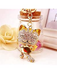 Banggood ELECTROPRIME Crystal Keyring Charm Pendant Bag Key Ring Chain Keychain Fortune Cat Gold