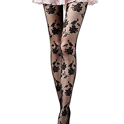 OverDose Women Sexy Lingerie Rose Printed Stockings Tights Pantyhose