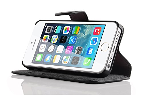 iPhone SE, iPhone 5 / 5s Lederhülle | JAMMYLIZARD Ledertasche [ Wallet Series ] Leder Hülle Flip Case Cover Schutzhülle mit Kartenfach, Schwarz SCHWARZ Wildleder