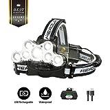 OUTERDO Stirnlampe LED Superheller,Kopflampe 10000LM 9 LED 6 Modi Wasserdicht,USB Wiederaufladbare Einstelllbare Eingebauter Akku mit Warnleuchte,Stirnleuchte Für Retten/Wandern/Camping