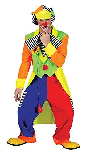 Jester Kostüm Männlich - Bristol Novelty AC094 Clown Frack und Hose Kostüm, Multicoloured, M