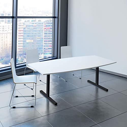 EASY Konferenztisch Bootsform 200x100 cm Weiß Besprechungstisch Tisch, Gestellfarbe:Anthrazit