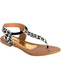 Peterpapa Women Sandal With Tiger Print Upper In Black Color