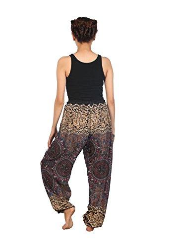 Lofbaz Pantaloni Coulisse da Donna Harem Boemo bohemien Casual Aladdin Spiaggia Floral 1 Grigio