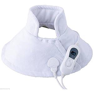 ThermaRelaxx weiches Schulter Wärmekissen Heizkissen mit Schnellaufheizung und Abschaltautomatik, Nackenheizkissen mit 100 W, Kissen 30 C° Maschinenwäsche geeignet, weiss