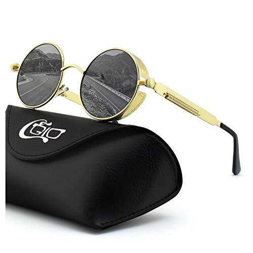 CGID Retro Sonnenbrille im Steampunk Stil, runder Metallrahmen, polarisiert, für Frauen und...