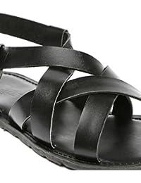 INVICTUS Men Black Leather Sandals