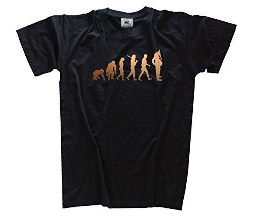 Shirtzshop–Maglietta Evoluzione, edizione bronzo Tuba giocatori soffiatore nero