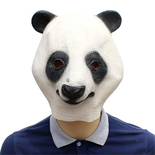 Weibliche Panda Kostüm - QWER Latex niedlichen Panda Kopf Maske Halloween Maskerade Party Panda Tier Maske atmungsaktiv Festival Party Supplies Maske lustige Requisiten,37x32x27