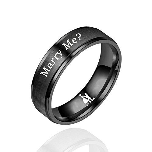 Edelstahl 6Cm Gravur Marry Me? Yes ! Verlobungsring Paar Ich Liebe Dich Ring Gebürstet Edelstahl für Paare Schwarz Herren Größe:57 (18.1) ()