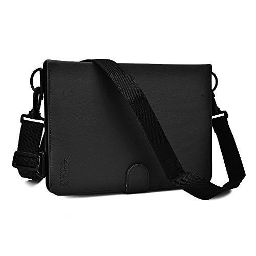 Funda Universal tipo Folio Cooper Cases (TM) Magic Carry para Tablet de Fujitsu Stylistic Q555 con Asa para Hombro en Negro (Cubierta de poliuretano, soporte para visitando incorporado, asa elástica para mano y soporte para stylus)
