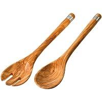 BERARD 03150 - Cubiertos para servir ensalada de acero y madera de olivo