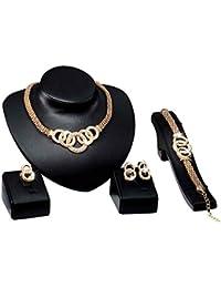 Uzinb Alergia Libre de la joyería Determinado 18k Chapado en Oro Shinning Ancho Anillo de la Pulsera Pendientes Collar de Cristal