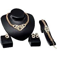 Laileya Shinning Pulsera Collar de Cristal Ancho Anillo de los Pendientes de la alergia Conjunto de joyería Gratuito