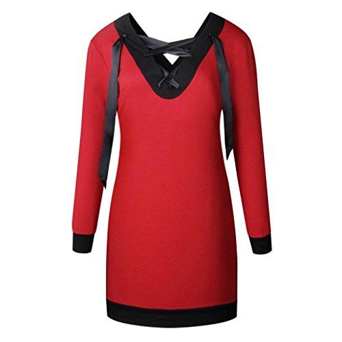 T-Shirt Damen Sunday Beliebte Attraktive Lange Pullover Bandage Kragen Reine Farbe Tops (S, (Mädchen Beliebtes Kostüme 2017)