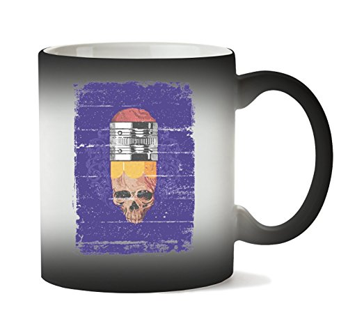 Halloween Pencil Skull Hipster Style Must Have Almost Tasse Hitze Farbwechsel