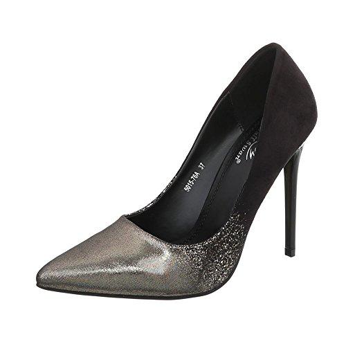 Ital-Design High Heel Pumps Damen-Schuhe High Heel Pumps Pfennig-/Stilettoabsatz High Heels Pumps Schwarz Gold, Gr 38, 5015-76A-
