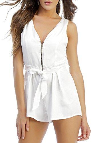 INFINIE PASSION - zip doré - Combinaison short blanche Blanc