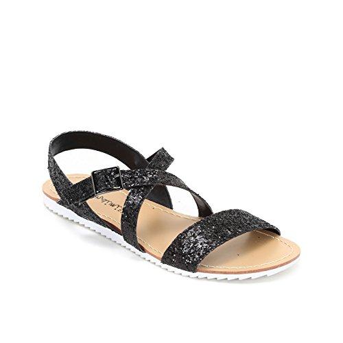 Prendimi by scarpe&scarpe - sandali bassi in glitter con incrocio - 38,0, nero