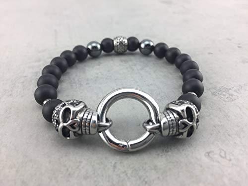 Armband Ringverschluß matt schwarz black Onyx Hämatit oder Lava Perlen Skull Totenkopf Schädel Edelstahl für Damen u. Herren Männer Mann A_31 -