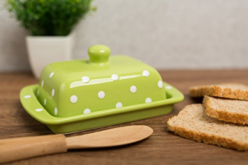 lime-green-and-white-handmade-ceramic-polka-dot-butter-dish-with-lid-by-city-to-cottage