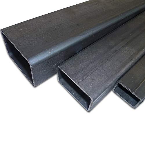 B&T Metall Stahl Rechteckrohr 60 x 40 x 3,0 mm in Längen à 2000 mm +0/-3 mm Flachkantrohr ST37 schwarz roh Hohlprofil Rohstahl