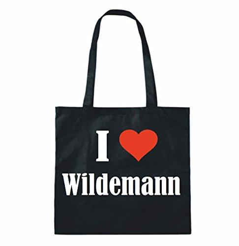 Sac à Bandoulière I Love Wildemann Shopping Bag Sac d'école Sac de Sport 38x 42cm en Noir ou Blanc.. Le cadeau parfait pour votre amoureux Noir