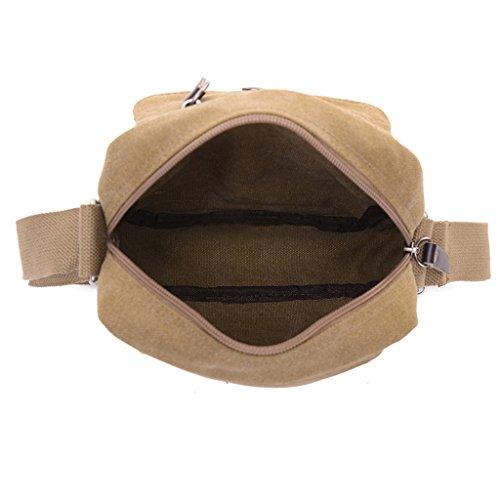 Herren-Umhängetasche, super-modern, klein, Vintage, Leinen, Messenger-Tasche, langlebig, viele Fächer grau - grau
