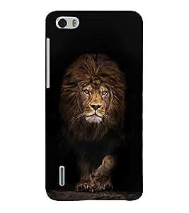 FUSON Lion Portrait On Black 3D Hard Polycarbonate Designer Back Case Cover for Huawei Honor 6
