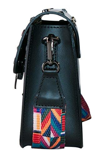 BORDERLINE - 100% Made in Italy - Pochette in Vera Pelle con borchie e tracolla in tessuto colorata - ARIANNA Nero