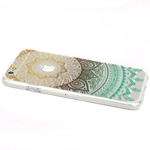JIAXIUFEN TPU Coque - pour Apple iPhone 6 6S Silicone Étui Housse Protecteur - White Pink Tribal Mandala Color11