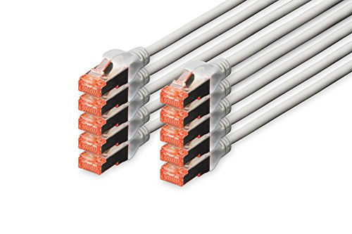 DIGITUS - 10 Stück - CAT 6 S-FTP Patchkabel, 5m, Netzwerk LAN DSL Ethernet Kabel, LSZH, Kupfer, AWG 27/7, Set, Grau -
