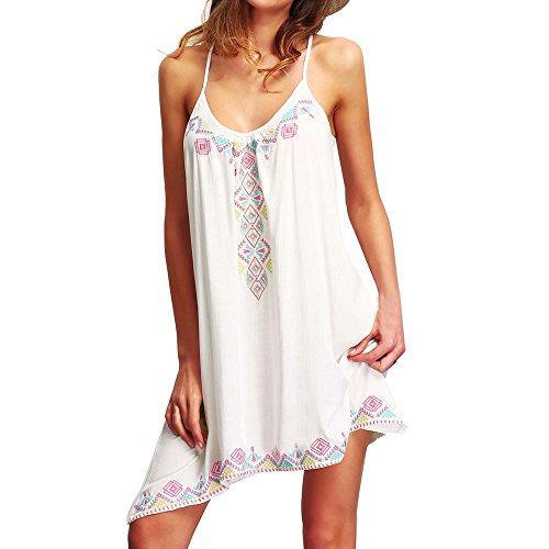 Damen Kleider Neckholder Sommer Elegant Strand Party Frauen Mini Kleid DOLDOA