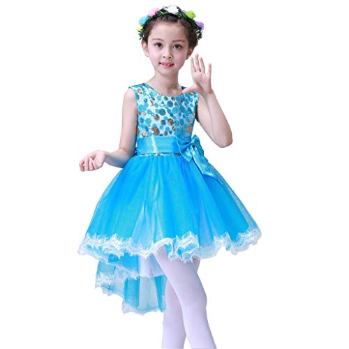 Kostüm Nette Flash - HUO FEI NIAO Mädchen Tanzkleid - Mädchen Chor Kostüm Prinzessin Tutu Net Pailletten Rock Jazz (Color : Blue, Size : 140)