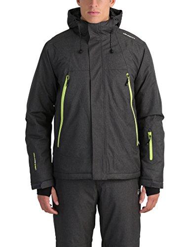 Ultrasport mel - giacca da sci o snowboard uomo con tecnologia ultraflow 10.000 - giubbotto termico per outdoor e sport invernali con cappuccio, grigio/verde, xl