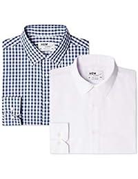 Hem & Seam Men's Regular Fit Checked Formal Shirt, Pack of 2