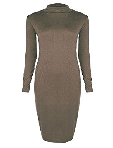 Janisramone women trutle polo neck long sleeve stretch bodycon dress size SM, ML, XL, XXL, XXXL Moka