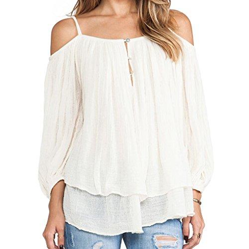 Preisvergleich Produktbild Maovii Damen Sommer Elegant Mode Lässig Shirt Doppel Chiffon Loose Blusen Tops Mit Halter Straps Blouse off Schulter Hemd (EU 40(Herstellergröße:L)
