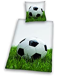 Herding 4459089050 Young Collection Parure de Lit pour Jeune avec Imprimé Football en Coton Multicolore 135 x 200 cm