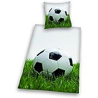 Herding 445989050 - Juego de funda nórdica y funda de almohada de linón con diseño de pelota de fútbol, 135 x 200 y 80 x 80 cm