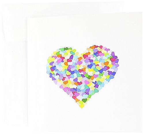 3dRose Rainbow Love Heart of Hearts colorido romántico confeti – multicolor – Día de San Valentín – Tarjetas de felicitación, 6 x 6 pulgadas, juego de 12 (gc_112898_2)