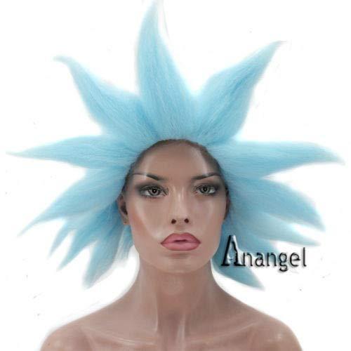 amenAnogol Rick Sanchez Cosplay Perücke Blau Kurzes Haar für Junge Halloween Kostüm Perücken ()