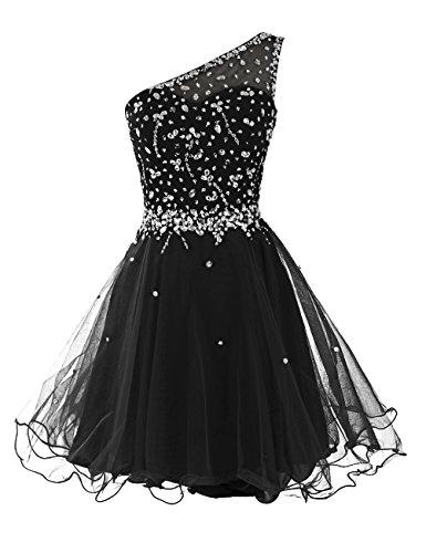 Dresstells une épaule robe de cocktail en tulle robe courte de bal avec paillettes Noir